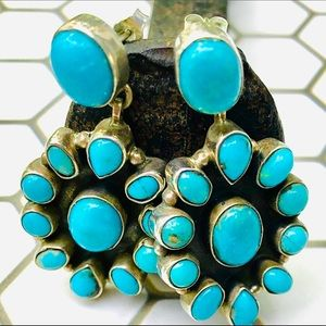 Navajo Turquoise Cluster Sterling Silver Earrings